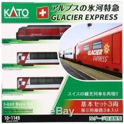 KATO 10-1145 N Gauge Alps Glacier Express 3 Basic Set Model Train Passenger car