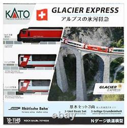 KATO N Gauge Alps Glacier Express Basic 3-Car Set Model Train Passenger Car