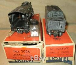 Lionel 2025 Model Train Steam Locomotive Engine and 2466W Whistle Tender O Gauge