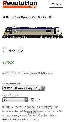 Revolution trains N Gauge a model of a Class 92 Beethoven