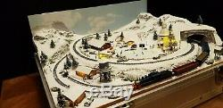Z Gauge Christmas Briefcase Layout With Train By Mountain Lake Model Railways